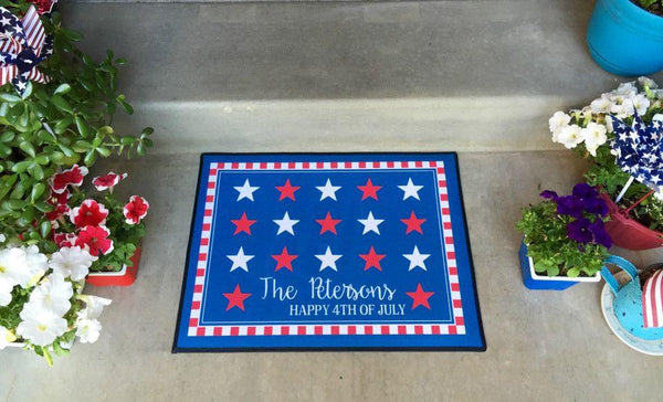 Personalized Medium Patriotic Door Mats - Qualtry