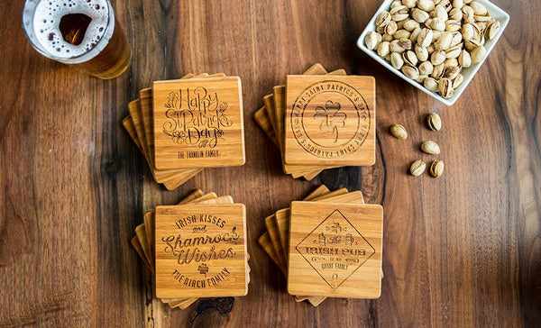 Personalized St. Patrick's Day Bamboo Coasters – Set of Four