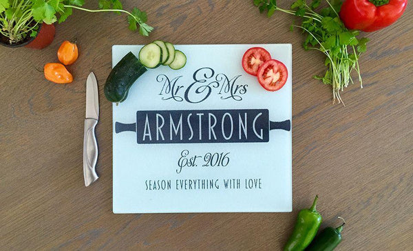 Personalized Tempered Glass Square Cutting Boards
