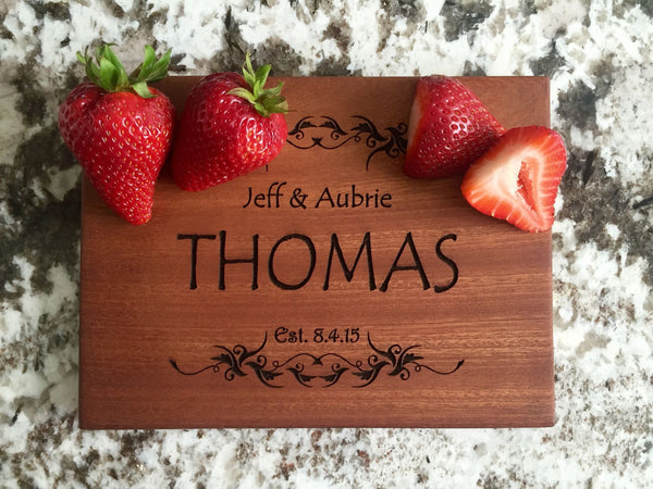 Personalized Beautiful 6 x 8 Mahogany Cutting Board - 11 Designs! - Qualtry