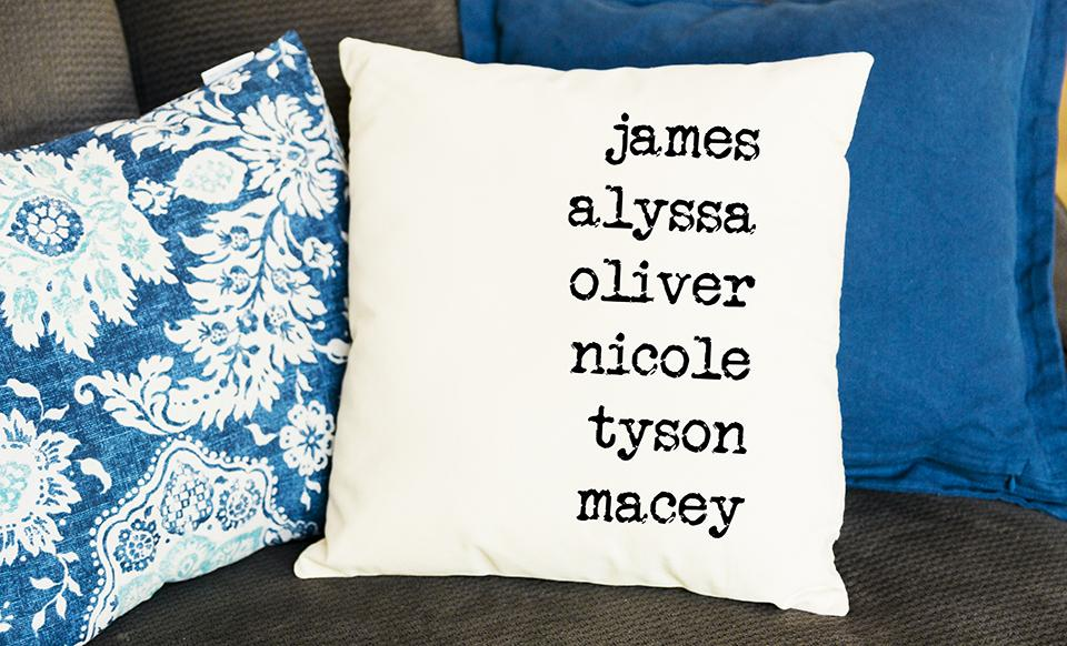 Family Name Throw Pillow Covers