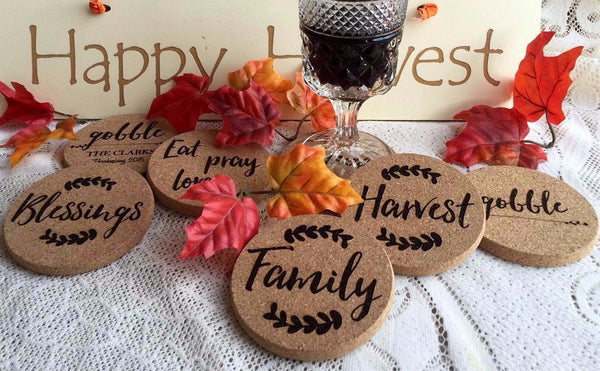 Personalized Thanksgiving Engraved Coasters - 6 Amazing Designs - Set of 2! - Qualtry Personalized Gifts