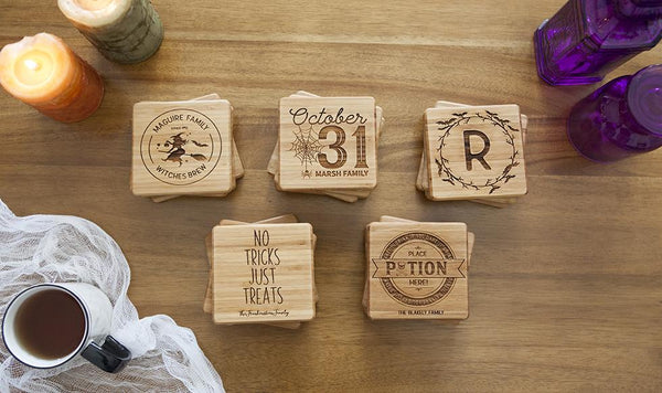 Customized Halloween Bamboo Coasters - Set of 4