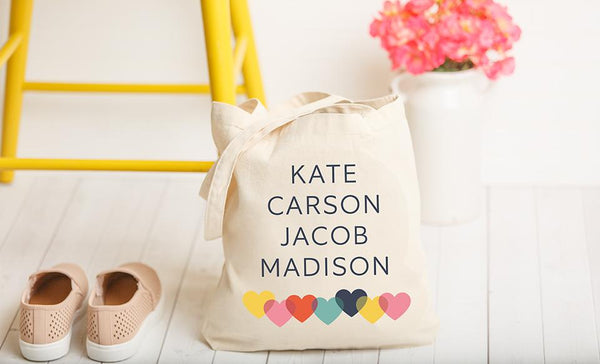 Personalized Family Names Tote Bag