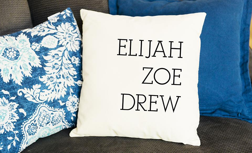 Throw Pillow Covers.Personalized Family Names Throw Pillow Cover