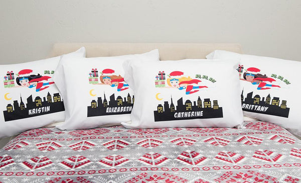 Personalized Christmas Girl Superhero Pillowcases