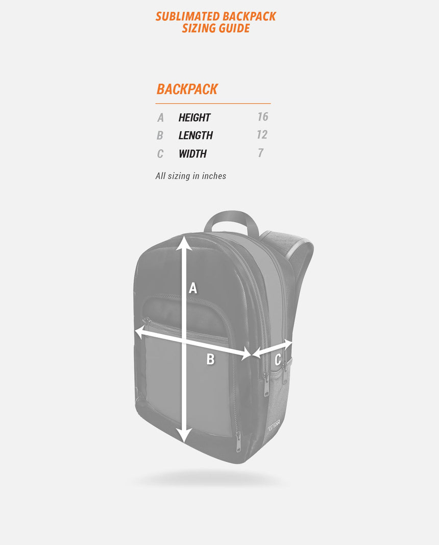Sublimated Backpack Sizing Guide