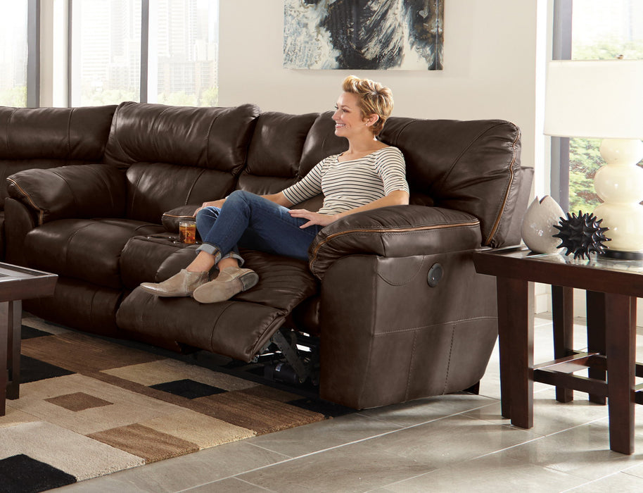 Catnapper Milan Lay Flat Reclining Console Loveseat in Chocolate 4349