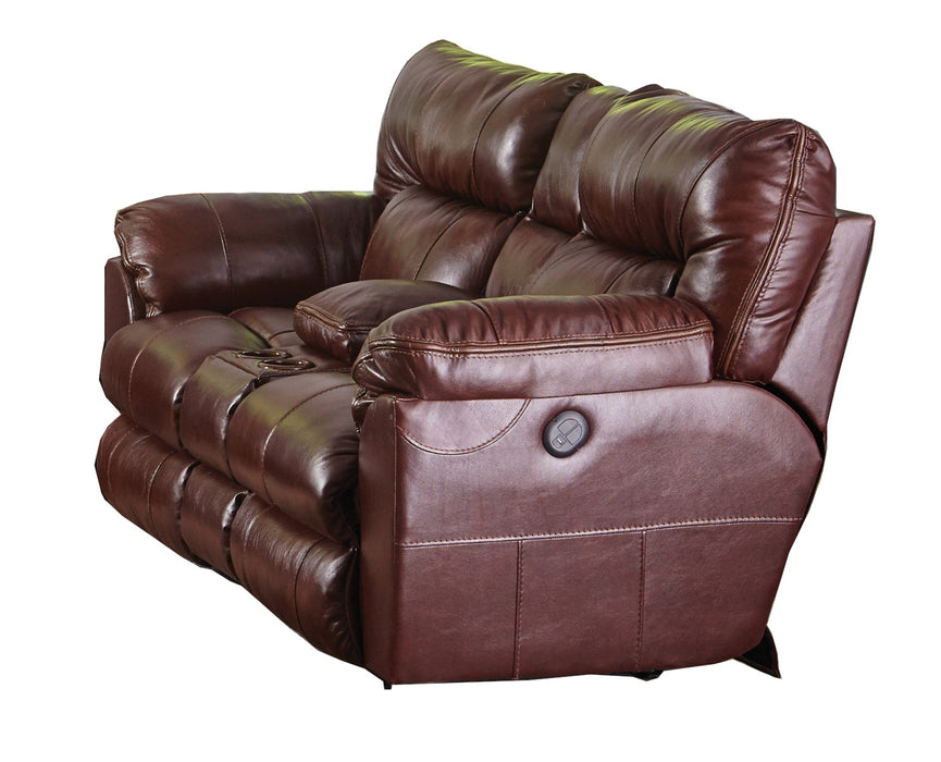 Catnapper Milan Power Lay Flat Reclining Console Loveseat in Walnut 64349