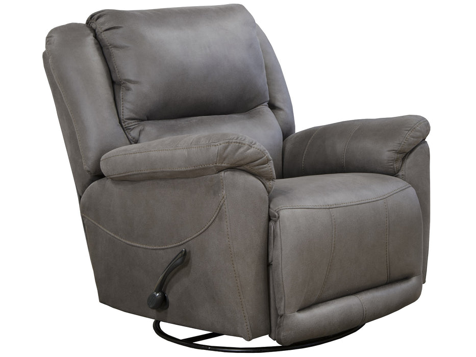 Catnapper Furniture Cole Chaise Swivel Glider Recliner in Charcoal 45665/1153-18/1253-18