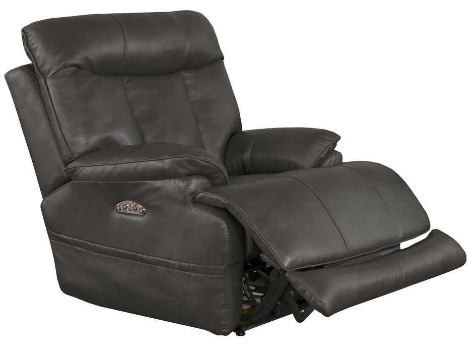 Catnapper Furniture Naples Power Headrest with Lumbar Power Lay Flat Recliner with Extended Ottoman in Steel