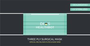 Three Ply Mask With Meltblown Filter (Pack of 50) - 100% Machine Made | UV Sterilised | Dehumidified | Flexible Nosewire