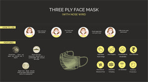 Three Ply Mask with Natural Rose Fragrance (Pack of 50) - 100% Machine Made | UV Sterilised | Dehumidified | Flexible Nosewire