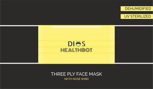 Three Ply Face Mask (Pack Of 10) - 100% Machine Made | UV Sterilised | Dehumidified | Flexible Nosewire
