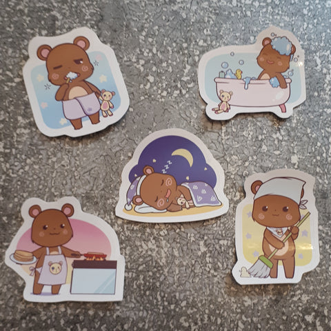 Vinyl Stickers - Cute Bear set - 60mm