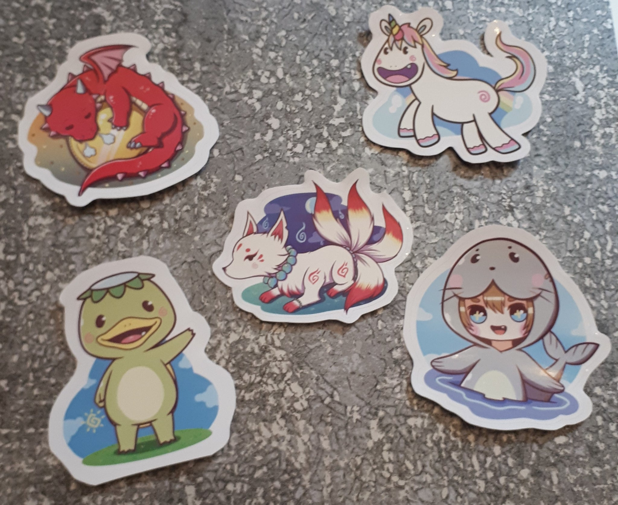 Vinyl Stickers - Mythical Creatures - 60 mm - Set of 5