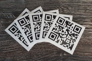 Rickroll QR Code Sticker set - 50mm waterproof, durable vinyl stickers