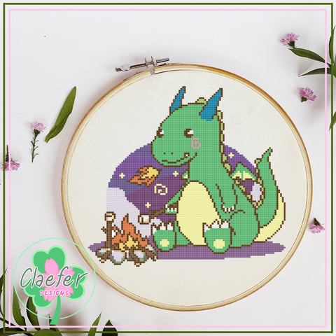 Dragon roasting marshmallows - Cute cross stitch pattern