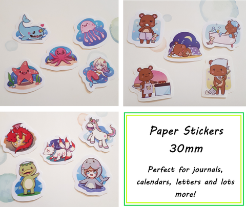 Paper sticker packs - Bears / Mythical Creatures / Under the Sea -  30mm size