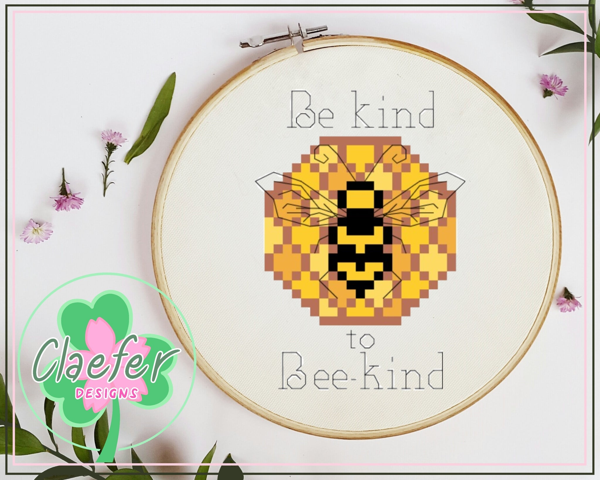 Be kind to Bee-kind - Bee friendly cross stitch pattern