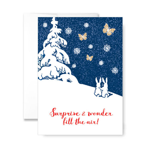 Glittered Holiday Greeting Card with a Magic Butterfly® inside