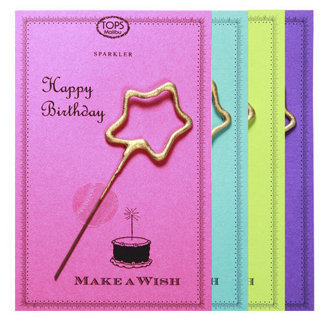 Sparkler Card Happy Birthday Asst. Color - TOPS Malibu