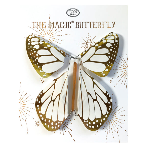 White with Gold Metallic Flying Magic Butterfly