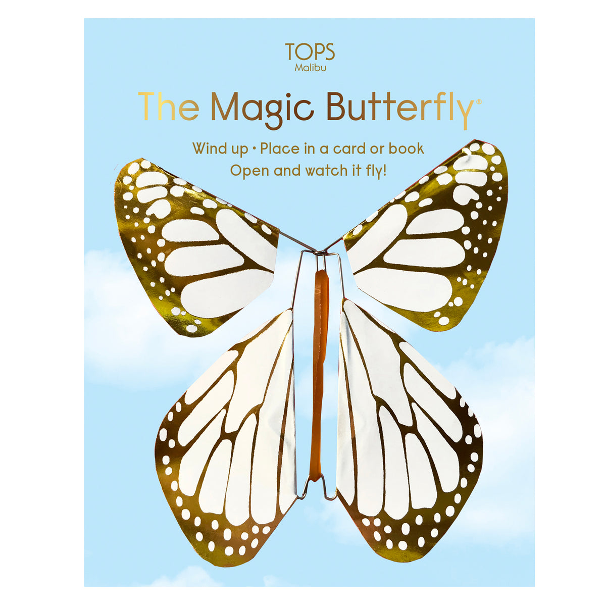 Flying Magic Butterfly White/Gold Metallic