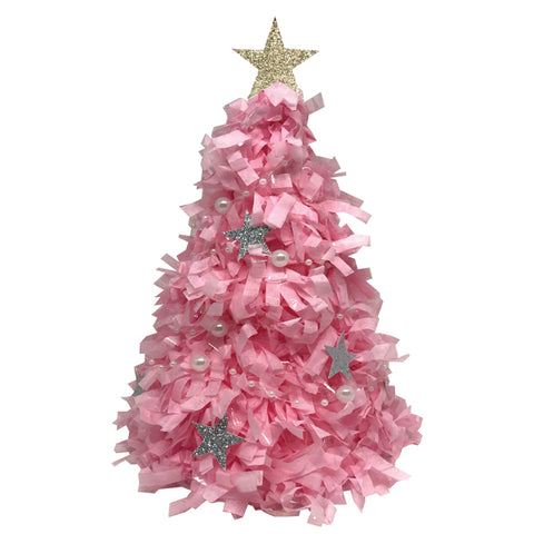 Pink Christmas Tree Mini Tabletop Piñata