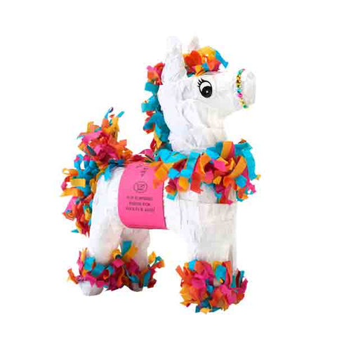 "Mini Tabletop White & Multicolor Piñata 7"" (6 Prizes Included)"