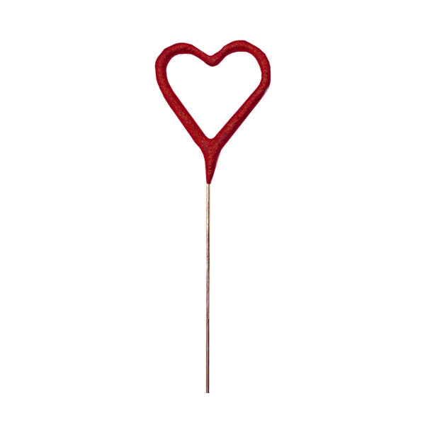 "Mini Red Heart Sparkler 4"" 24pc."