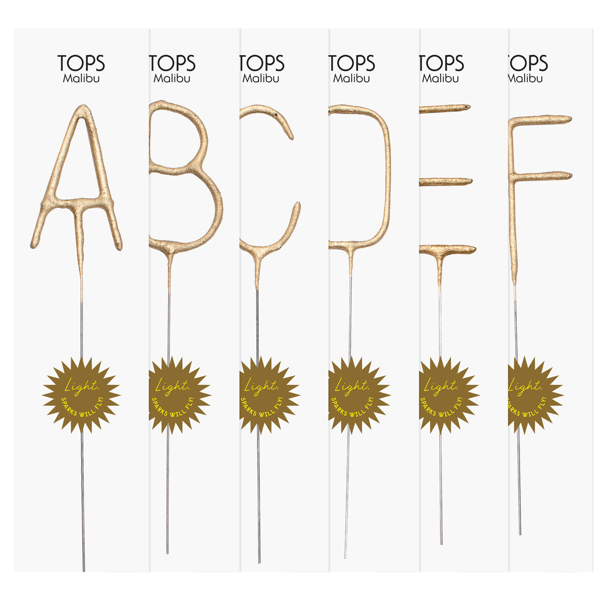 Big Golden Sparkler Wand Letters