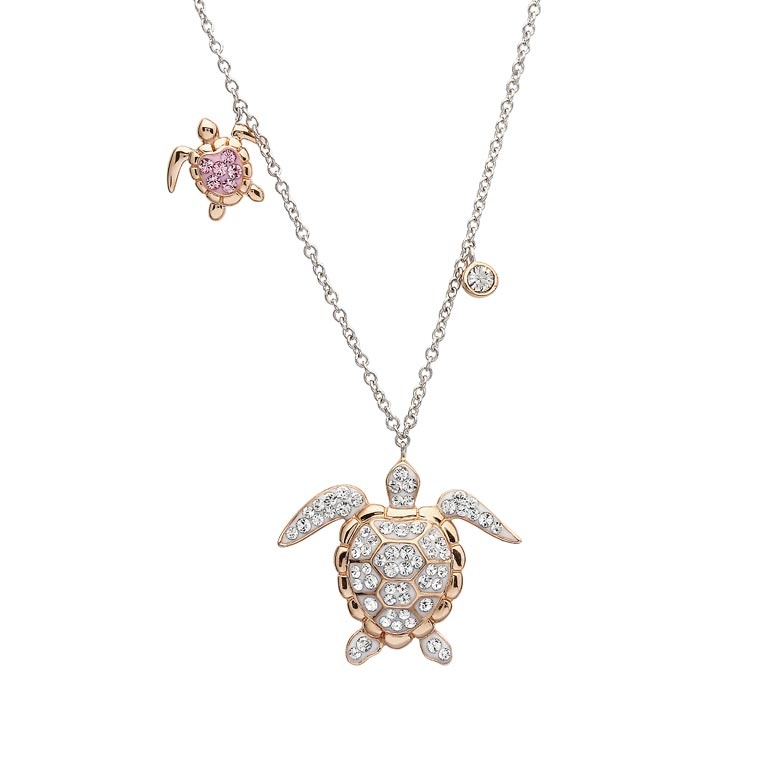 Ocean Rose Gold Turtle Pendant with Aqua Swarovski® Crystals