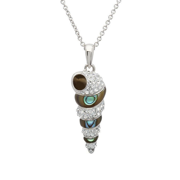 Ocean Shell Necklace Encrusted with White Swarovski® Crystal