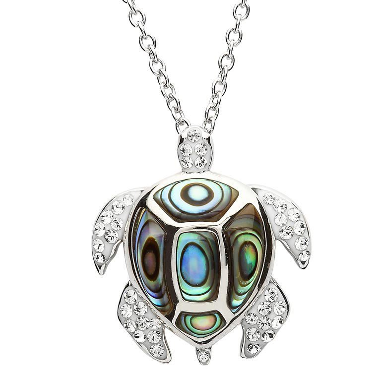 Ocean Turtle Necklace Adorned with White Swarovski® Crystals