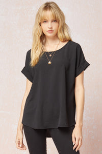 Entro Scoop Neck Top w/ rolled sleeve
