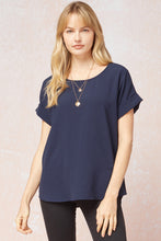 Load image into Gallery viewer, Entro Scoop Neck Top w/ rolled sleeve