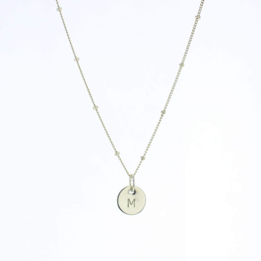 Lotus Initial Necklace Silver