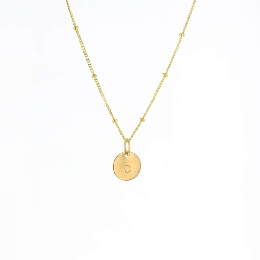 Lotus Initial Necklace Gold