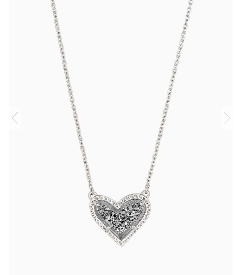 Kendra Scott Ari Heart Silver Pendant Necklace