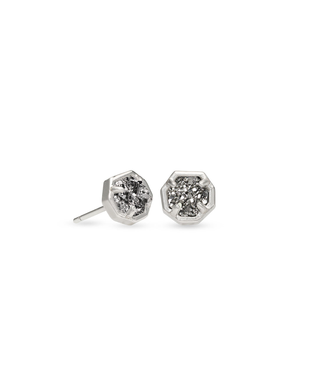 Kendra Scott Nola Silver Stud Earrings In Platinum Drusy