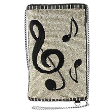 Load image into Gallery viewer, Mary Frances Well Noted Beaded-Embroidered Music Notes Crossbody Phone Bag