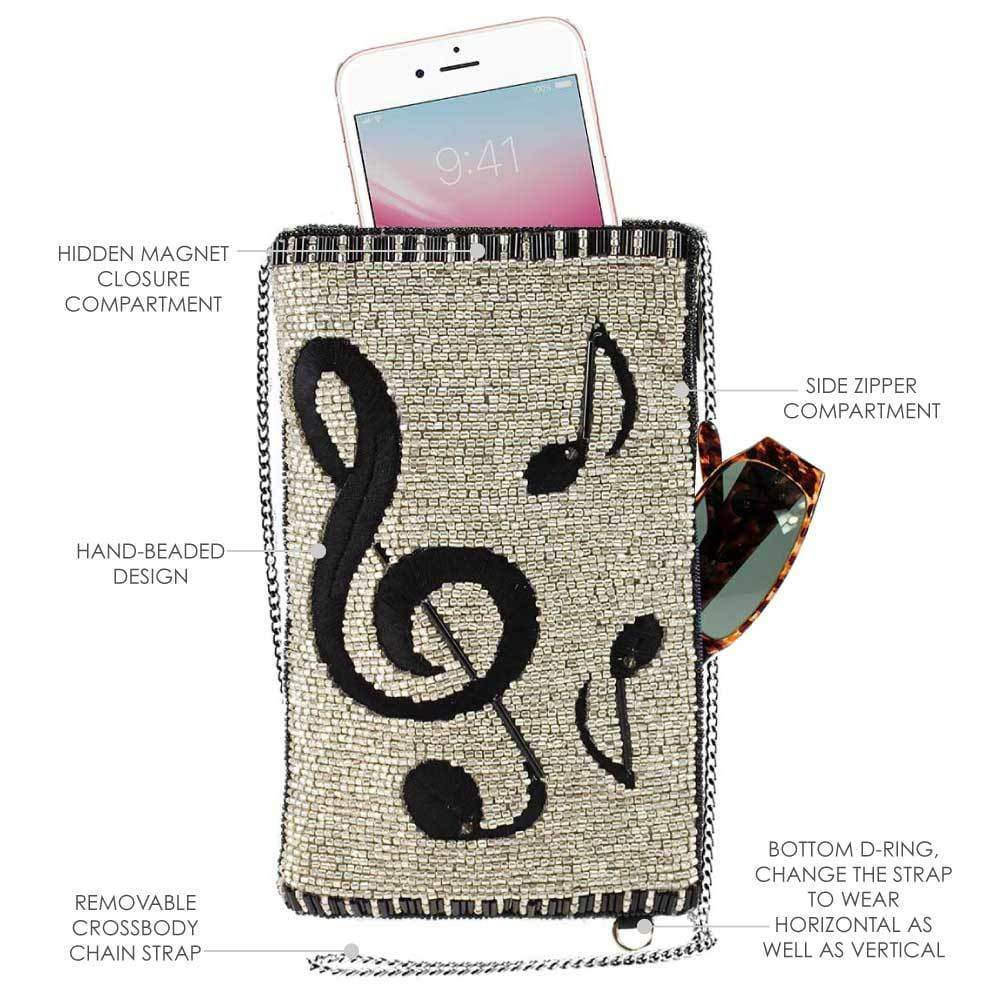 Mary Frances Well Noted Beaded-Embroidered Music Notes Crossbody Phone Bag