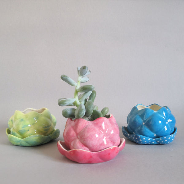 Hand Painted Small Raspberry planters