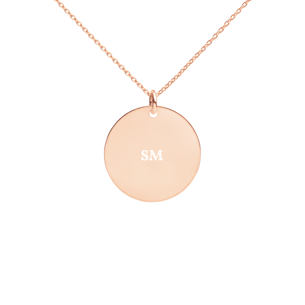 Custom Engraved Silver Disc Necklace - Sacred Monkey
