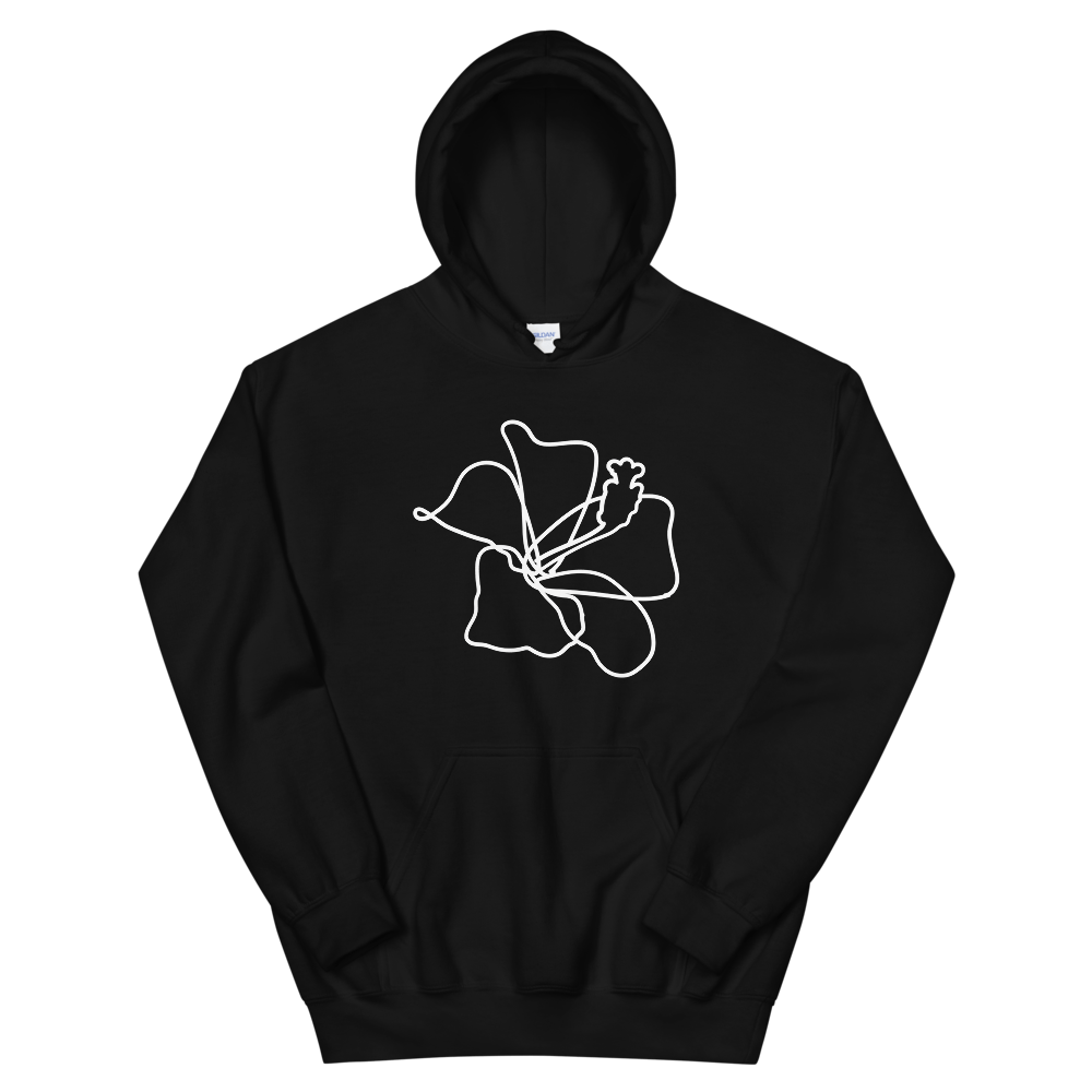 Hibiscus Lineart Heavy Blend Unisex Hoodie - Sacred Monkey