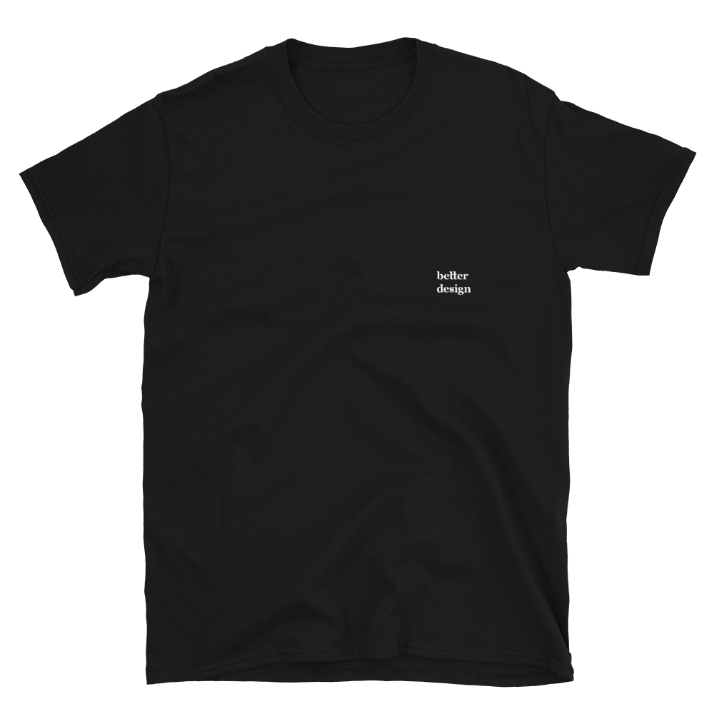 Better Design Basic Short-Sleeve Unisex Plain Black Tee