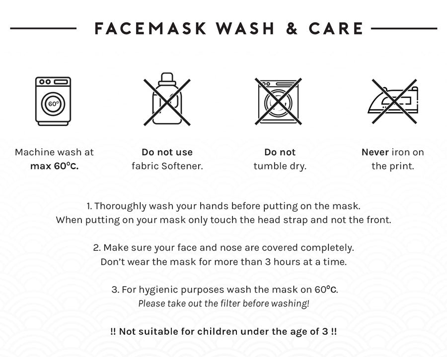kaomoji facemask wash and care instructions