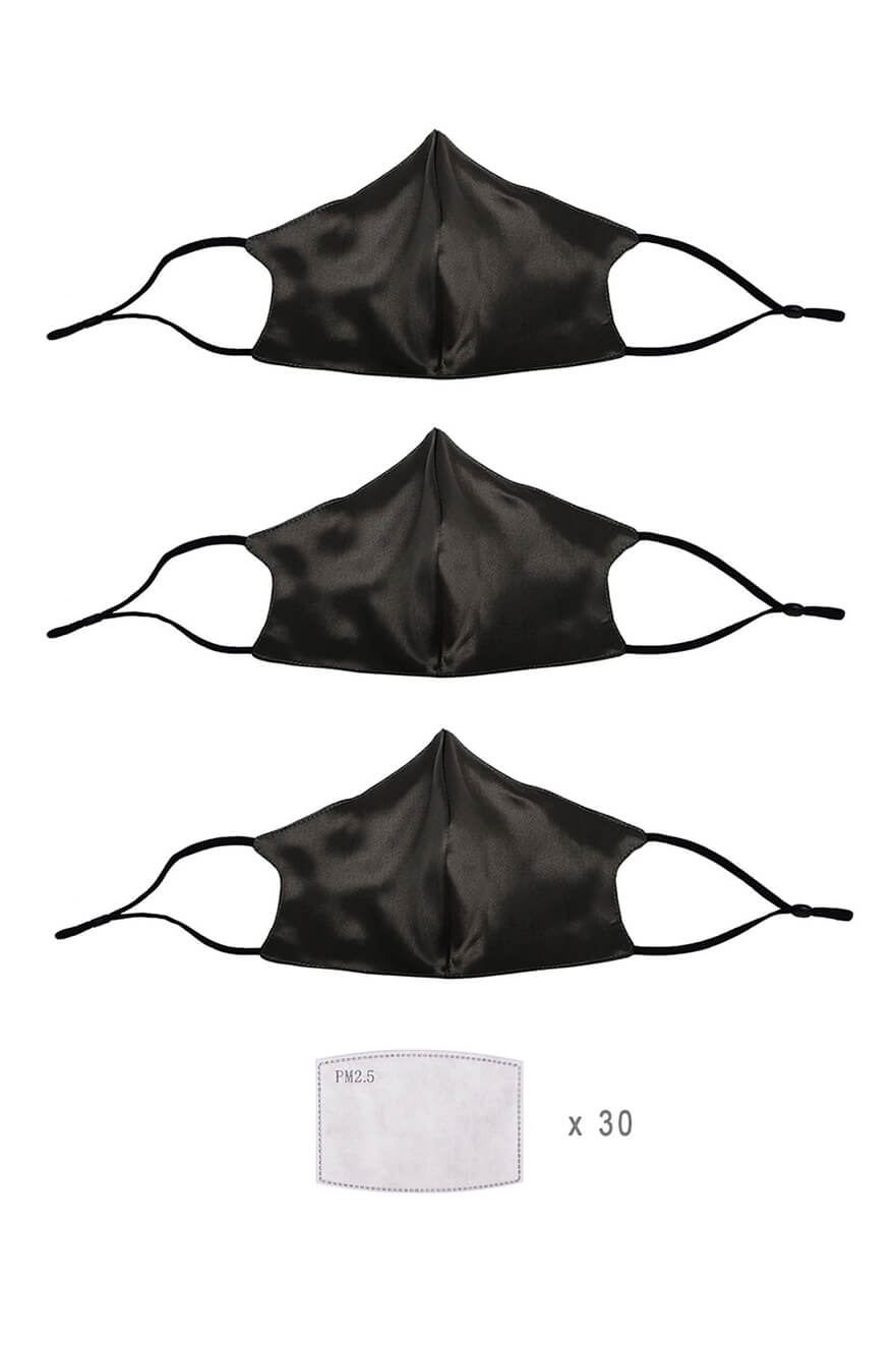 (Pack of 3) STELLAR Silk Face Mask with Filter Pocket - Black