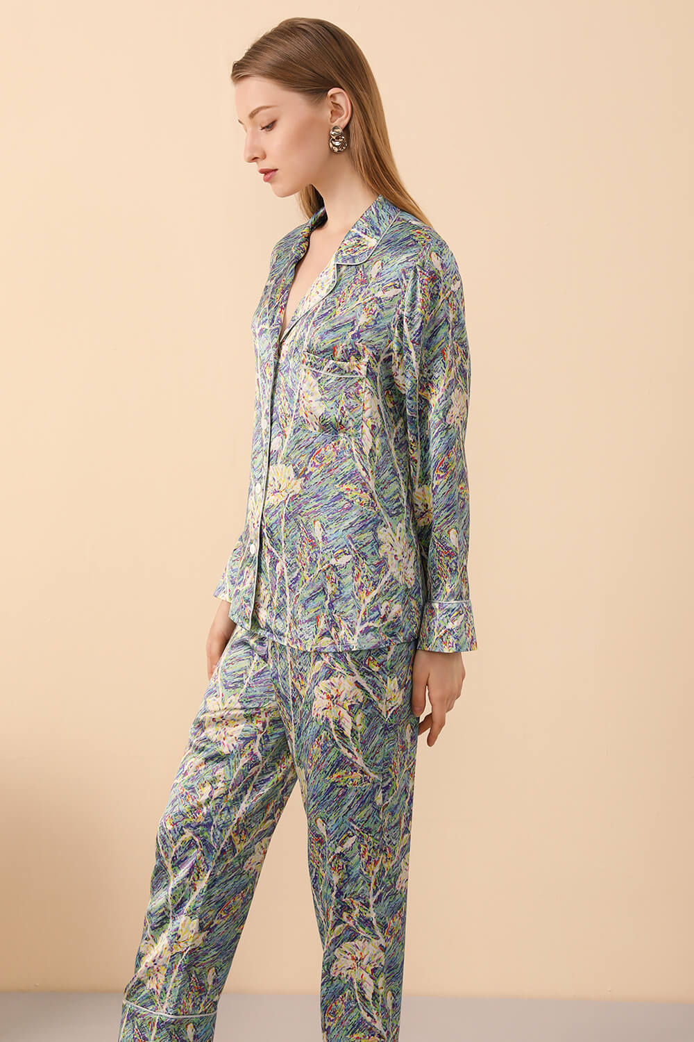 Long Sleeved Silk Pajama Set in Print